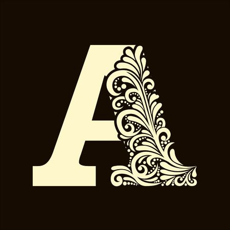 letter of the alphabet: Elegant capital letter A in the style of the Baroque. To use monograms, logos, emblems and initials.
