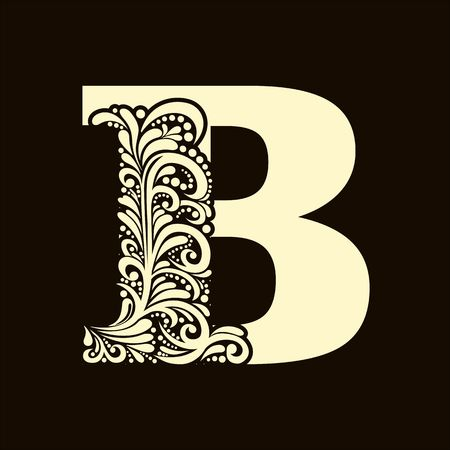 Elégant lettre majuscule B dans le style du baroque. Pour utiliser monogrammes, logos, emblèmes et initiales.