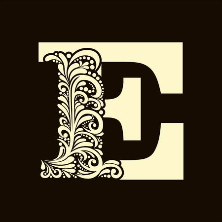 old letter: Elegant capital letter E  in the style of the Baroque. To use monograms, logos, emblems and initials.