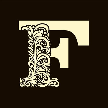 letter of the alphabet: Elegant capital letter F  in the style of the Baroque. To use monograms, logos, emblems and initials. Illustration