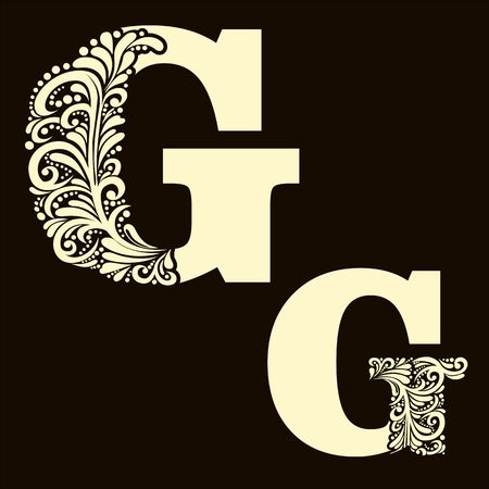 capitals: Elegant capital letter G in the style of the Baroque. To use monograms, logos, emblems and initials.