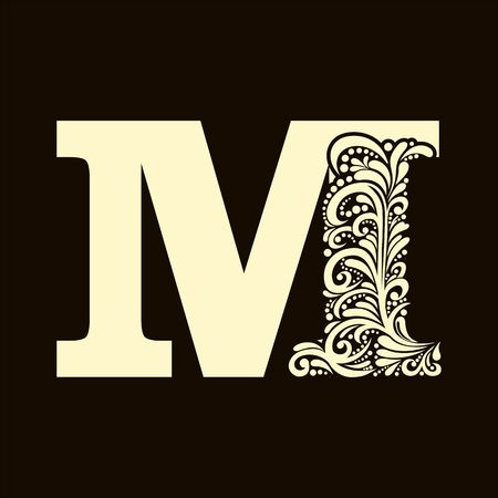 letter of the alphabet: Elegant capital letter M in the style of the Baroque. To use monograms, logos, emblems and initials. Illustration