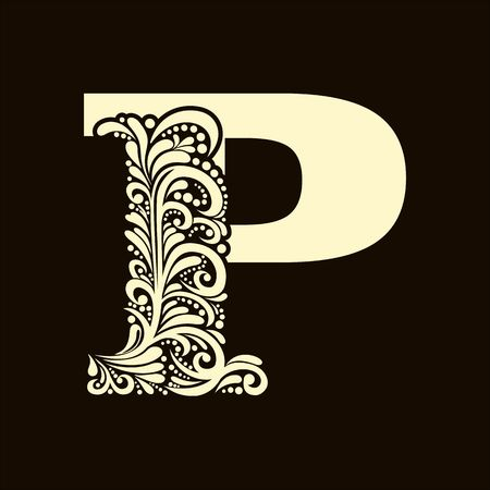 alphabet letter: Elegant capital letter P in the style of the Baroque. To use monograms, logos, emblems and initials.