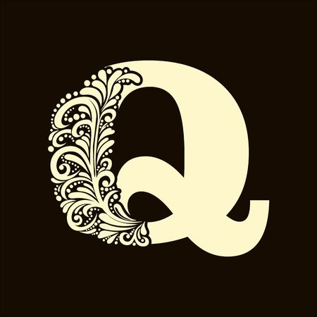 alphabet letter: Elegant capital letter Q in the style of the Baroque. To use monograms, logos, emblems and initials. Illustration