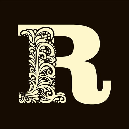 alphabet letter: Elegant capital letter R in the style of the Baroque. To use monograms, logos, emblems and initials.