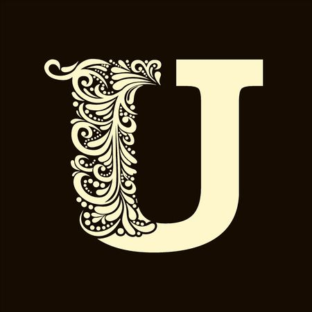 Elegant capital letter U in the style of the Baroque. To use monograms, logos, emblems and initials.