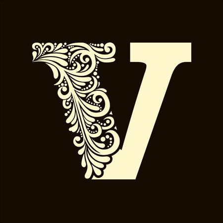 letter of the alphabet: Elegant capital letter V in the style of the Baroque. To use monograms, logos, emblems and initials.