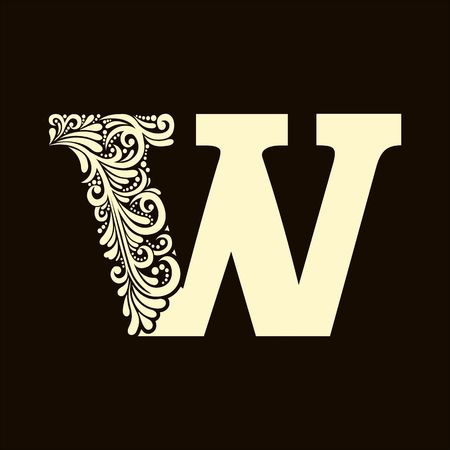 decorative letter: Elegant capital letter W  in the style of the Baroque. To use monograms, logos, emblems and initials.