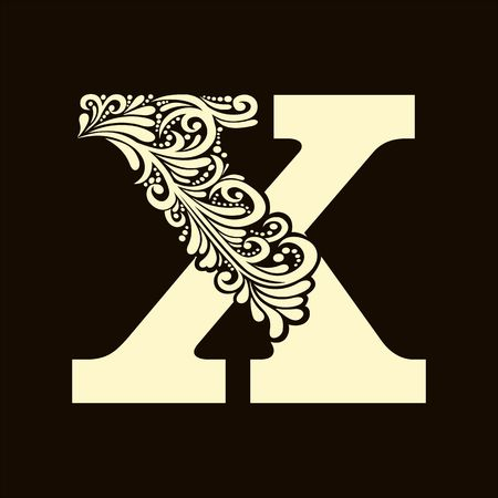 letter of the alphabet: Elegant capital letter X in the style of the Baroque. To use monograms, logos, emblems and initials.