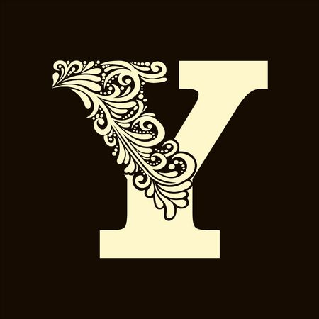 letter: Elegant capital letter Y in the style of the Baroque. To use monograms, logos, emblems and initials.