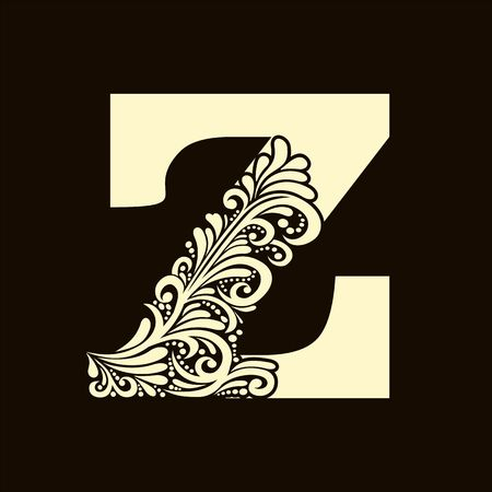 alphabet letter: Elegant capital letter Z in the style of the Baroque. To use monograms, logos, emblems and initials.