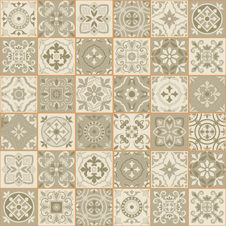 indigo: Gorgeous seamless  pattern  white Sepia color Moroccan, Portuguese  tiles, Azulejo, ornaments. Can be used for wallpaper, pattern fills, web page background,surface textures. Illustration