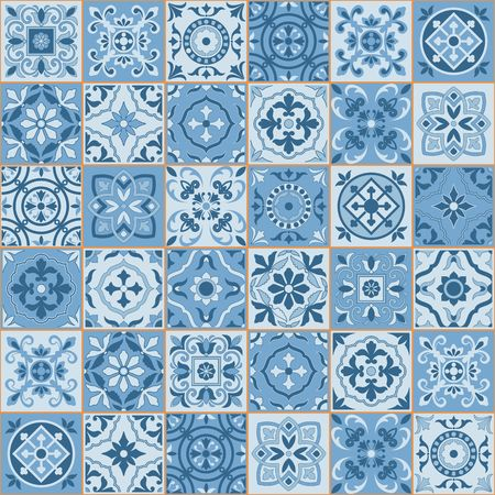 Gorgeous seamless  pattern  white sereniti color Moroccan, Portuguese  tiles, Azulejo, ornaments. Can be used for wallpaper, pattern fills, web page background,surface textures.