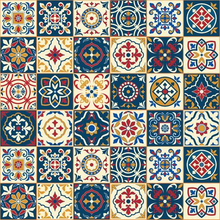 oriental: Gorgeous seamless  pattern  white colorful Moroccan, Portuguese  tiles, Azulejo, ornaments. Can be used for wallpaper, pattern fills, web page background,surface textures.