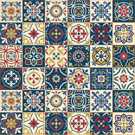 muster: Herrliche nahtlose Muster weiß bunte marokkanische, portugiesischen Kacheln, Azulejo, Ornamente. Kann für Tapeten, Muster füllt, Web-Seite Hintergrund, Oberflächen-Texturen verwendet werden. Illustration