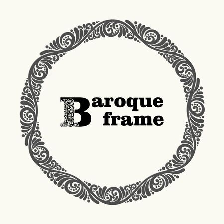 baroque: Beautiful Round Floral Frame in baroque style