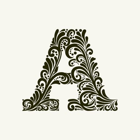 ancient alphabet: Elegant capital letter A in the style of the Baroque. To use monograms, logos, emblems and initials.