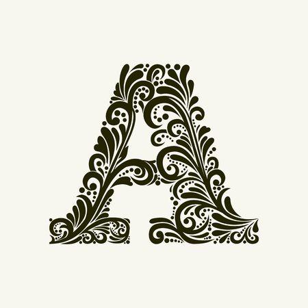 Elegant hoofdletter A in de stijl van de barok. Om monogrammen, logo's, emblemen en initialen gebruiken. Stockfoto - 49958020