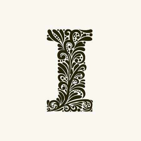Elegant capital letter I in the style of the Baroque. To use monograms, logos, emblems and initials. Illustration