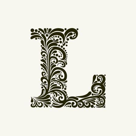 Elegante letra mayúscula L en el estilo del barroco. Para utilizar monogramas, logotipos, emblemas e iniciales. Vectores