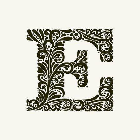 Elegant capital letter E in the style of the Baroque. To use monograms, logos, emblems and initials.