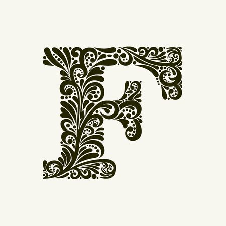 Elegant capital letter F in the style of the Baroque. To use monograms, logos, emblems and initials. Illustration