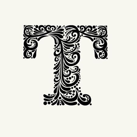 바로크 스타일의 우아한 대문자 T. 모노그램, 로고, 엠블럼 및 이니셜을 사용합니다. 일러스트