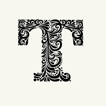 baroque: Elegant capital letter T in the style of the Baroque. To use monograms, logos, emblems and initials.