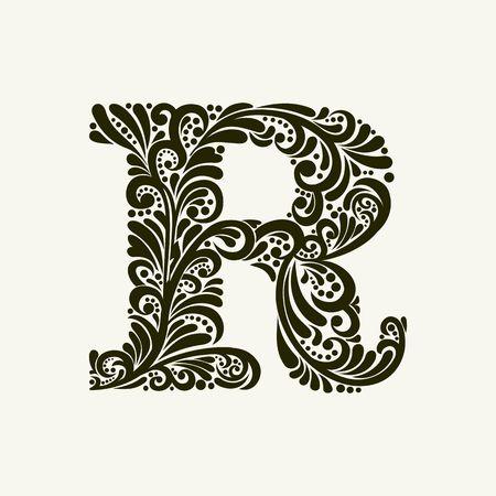 Elégant lettre majuscule R dans le style de l'époque baroque. Pour utiliser monogrammes, logos, emblèmes et les initiales. Banque d'images - 49958137