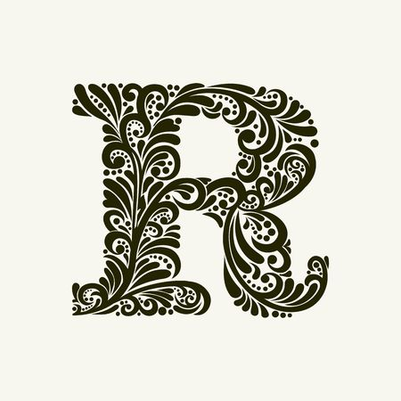 Elegant capital letter R in the style of the Baroque. To use monograms, logos, emblems and initials. Stock Vector - 49958137