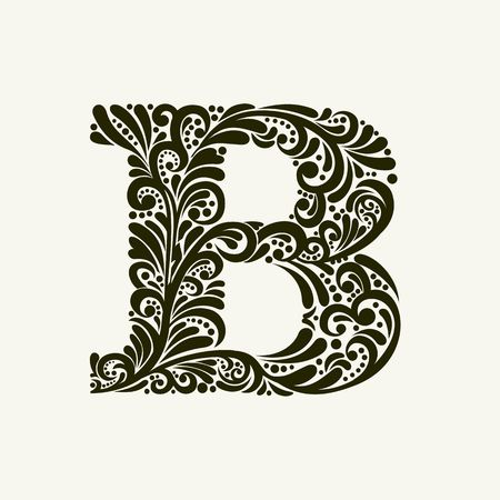 Elegant capital letter B in the style of the Baroque. To use monograms, logos, emblems and initials. Illustration