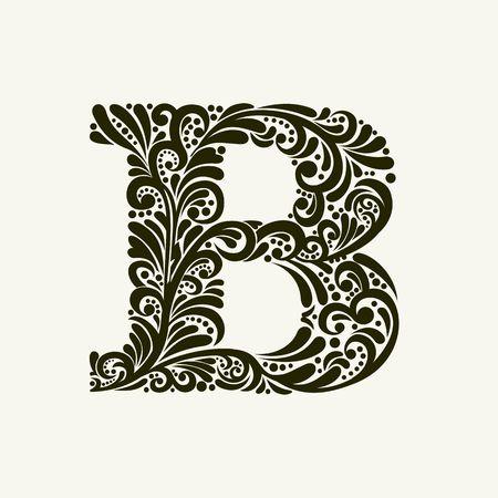 Elegant hoofdletter B in de stijl van de barok. Om monogrammen, logo's, emblemen en initialen gebruiken.