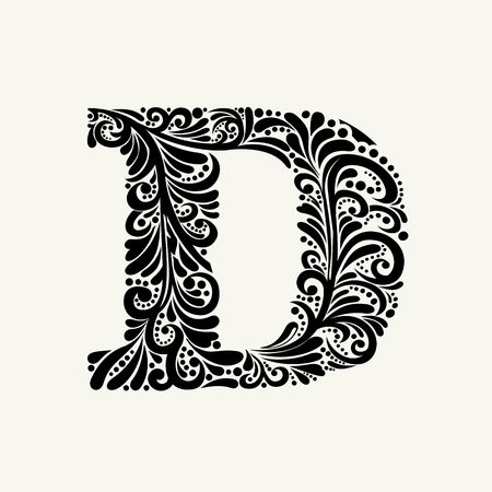 alphabet letter: Elegant capital letter D in the style of the Baroque. To use monograms, logos, emblems and initials.
