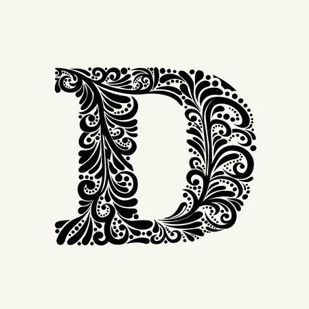 Elegant hoofdletter D in de stijl van de barok. Om monogrammen, logo's, emblemen en initialen gebruiken. Stock Illustratie