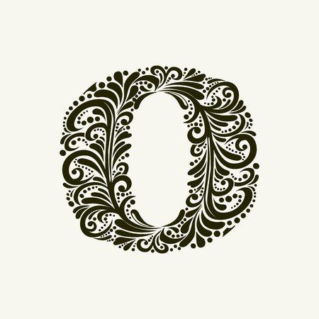 Elégant lettre majuscule O dans le style du baroque. Pour utiliser monogrammes, logos, emblèmes et initiales. Banque d'images - 49958143