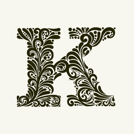 baroque: Elegante letra mayúscula K en el estilo del barroco. Para utilizar monogramas, logotipos, emblemas e iniciales.