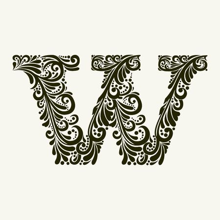 old victorian letter: Elegant capital letter W in the style of the Baroque. To use monograms, logos, emblems and initials.