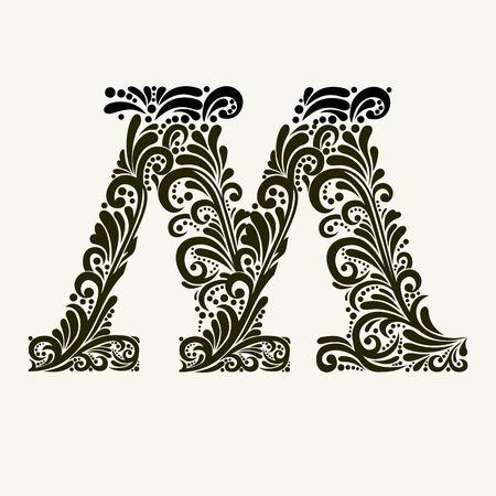 Elegante letra mayúscula M en el estilo del barroco. Para utilizar monogramas, logotipos, emblemas e iniciales. Vectores