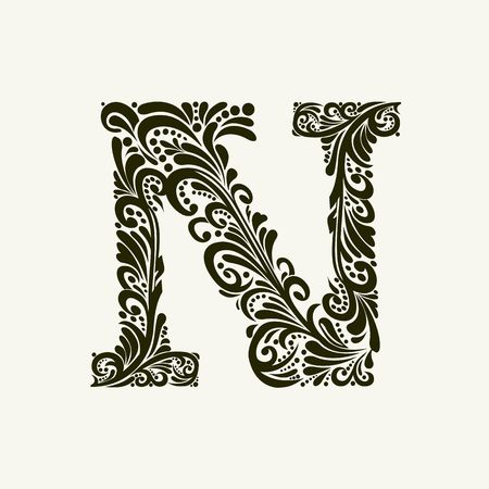 Elegant capital letter N in the style of the Baroque. To use monograms, logos, emblems and initials.  イラスト・ベクター素材