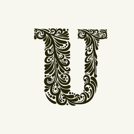 바로크 스타일의 우아한 대문자 U를. 짜 맞춘 글자, 로고, 엠블럼 및 이니셜을 사용합니다.