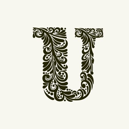initial: Elegant capital letter U in the style of the Baroque. To use monograms, logos, emblems and initials.