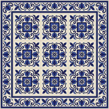 タイルとの国境から豪華なシームレス パターン。モロッコ、ポルトガル、Azulejo 装飾品。Web ページの背景テクスチャ、パターンの塗りつぶしの壁紙  イラスト・ベクター素材