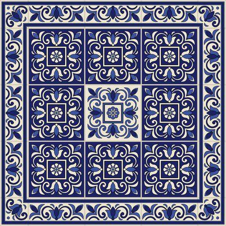 Modelo inconsútil magnífico de azulejos y frontera. Marroquí, portugués, adornos de Azulejo. Puede ser utilizado para el papel pintado, patrones de relleno, de fondo página web texturas de la superficie. Foto de archivo - 49958151