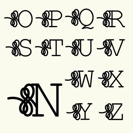 Set Lettre majuscule pour monogrammes et logos. Belle Filigrane police.