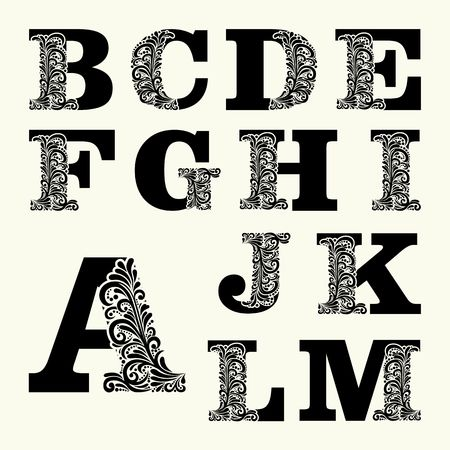 Elegant hoofdletters set 1 in de stijl van de barok. Om monogrammen, logo's, emblemen en initialen gebruiken. Stock Illustratie