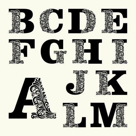 lettres majuscules élégantes set 1 dans le style du baroque. Pour utiliser monogrammes, logos, emblèmes et initiales.