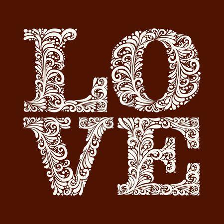 mot amour modèle dans un style baroque élégant