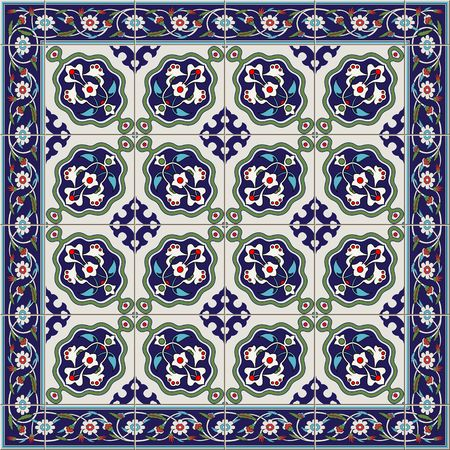 iznik: Gorgeous seamless  pattern  white Turkish tiles and border., ornaments.  Can be used for wallpaper, pattern fills, web page background,surface textures.