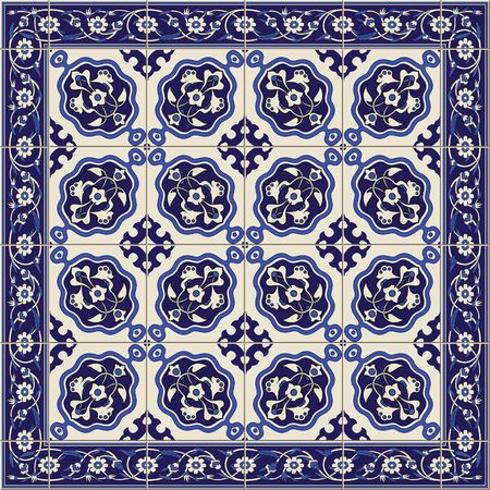 tiles: Gorgeous seamless  pattern  white Turkish tiles and border., ornaments.  Can be used for wallpaper, pattern fills, web page background,surface textures.