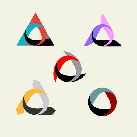 of movement: Creative set of templates for logos and emblems. Symbol of infinity, cyclicality, sustainability and movements